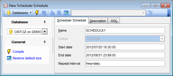Scheduler Schedule Editor - Editing scheduler schedule definition