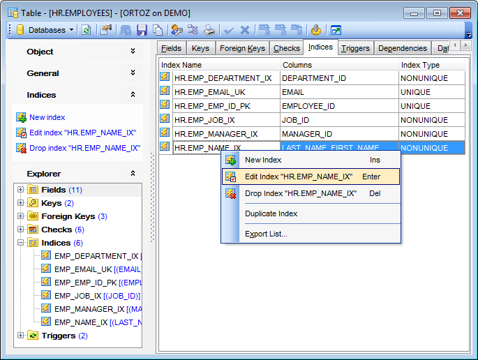 Table Editor - Managing indexes