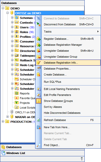 DB Explorer - Managing database registration info