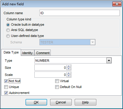 Field Editor - Setting field name and type