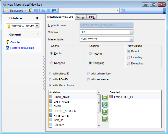 Materialized View Log Editor - Editing Materialized View Log definition