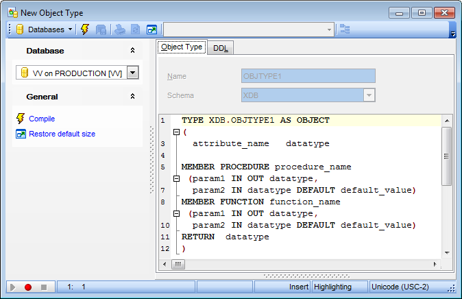 Object Type Editor - Editing Object Type definition