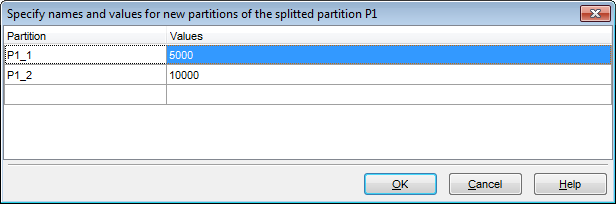 Table Editor - Managing partitions - Splitting partitions
