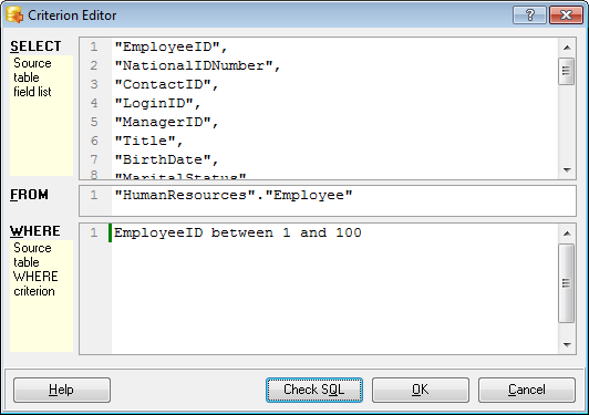 Step 7 - Selecting tables for data import - Criterion editor