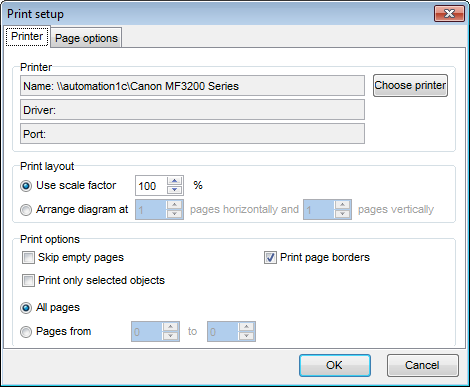 Database tools - VDBD - Print Setup - Printer