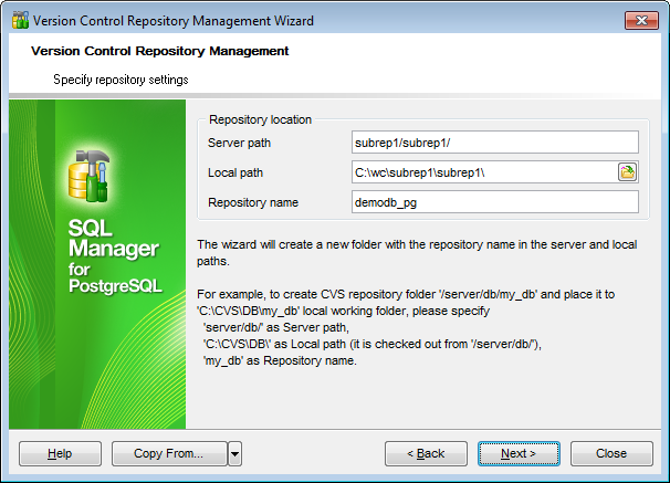 Repository management wizard - Specify repository settings