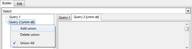 Visual Query Builder - Union