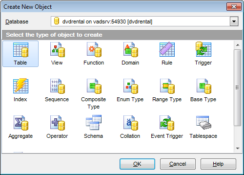 Database Objects management - Create New Object
