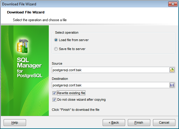 Download File wizard - Specifying operation and selecting files