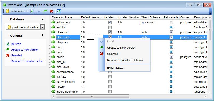 Installed. схема... версия установленного.  Для каждого расширения отображается основная информация...