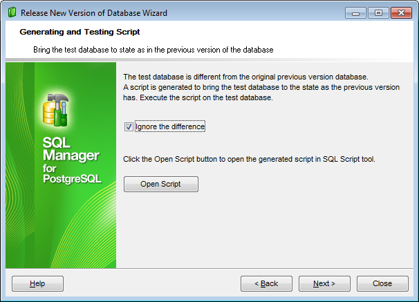 Release New Version - Execute the change script on the test database