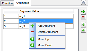 Trigger Editor - Editing trigger definition - Arguments