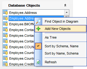 VDBD - Database Objects pane
