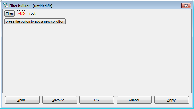 Filter Builder dialog - Adding a new condition