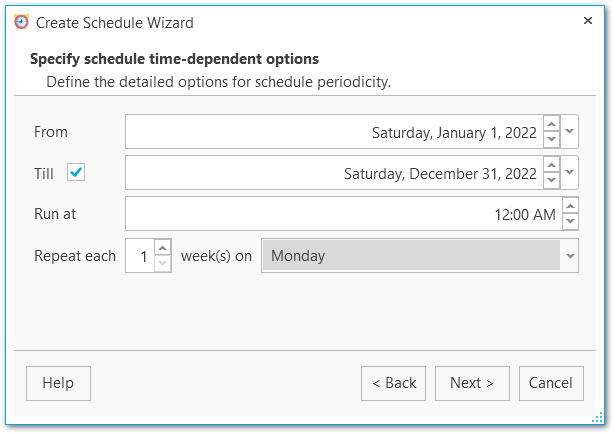Schedule wizard - Specifying time-dependent options