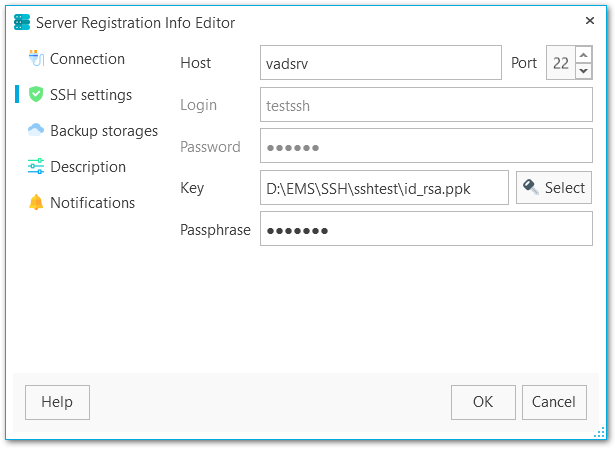 Server Registration Info - SSH settings