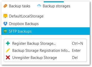 Popup menu - Backup storage