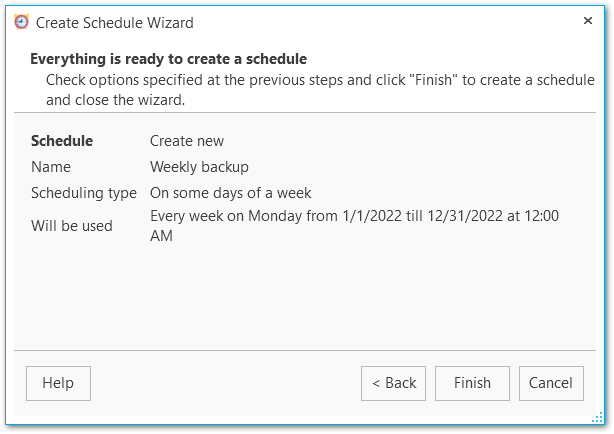 Schedule wizard - Performing operation
