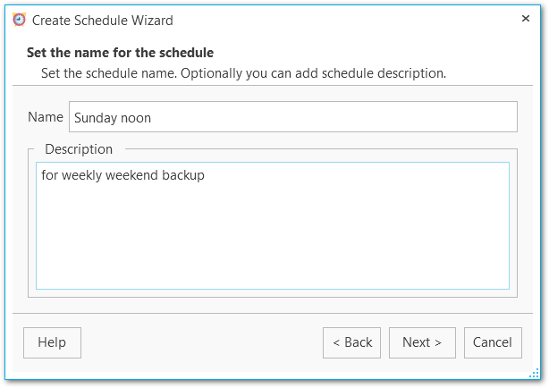 Schedule wizard - Specifying name