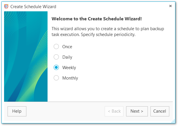 Schedule wizard - Welcome step