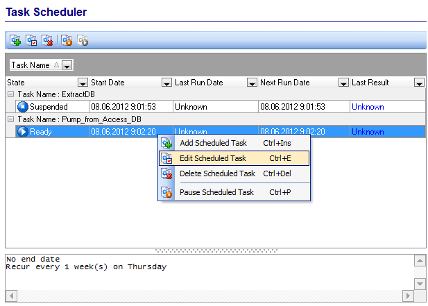 Scheduling and Performing tasks - Managing scheduled tasks