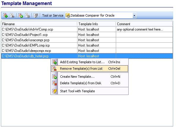 Template Management - Managing existing templates