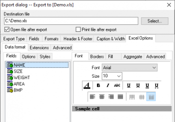 Setting options to export data to Excel