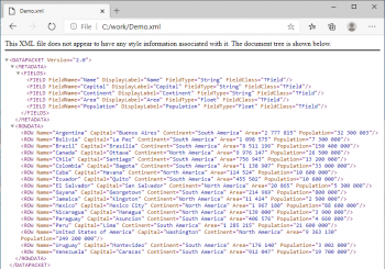 Browsing results of export to XML